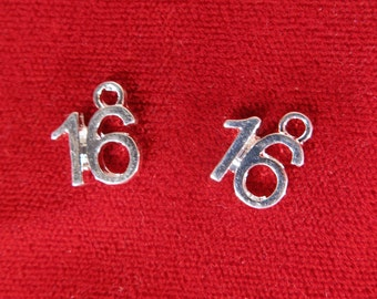 "BULK! 30pc ""number 16"" charms in silver style (BC1072B)"