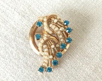 Vintage blue rhinestone faux seed pearl brooch