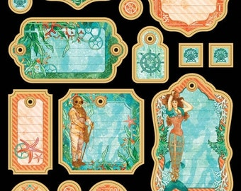 ON SALE - PRE-Order - Graphic 45 -  Voyage Beneath the Sea Journaling Chipboard 1 - 4501333