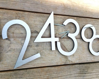 4'' Modern House Numbers Letters Brushed Aluminum Stud Mounted Metal Address Numbers Letters Minimalist Street Name Office Apartments