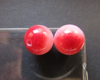 2 round chalcedony pink-cherry 12mm Cal-001