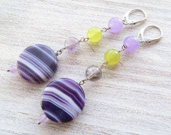 Agate earrings, purple amethyst and yellow jade earrings, dangle earrings, sterling silver 925 earrings, gemstone jewelry, summer jewelry
