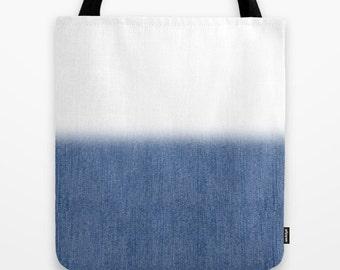 Denim bag faded canvas tote bag shopping bag stylish modern minimalist accessory casual sporty dynamic