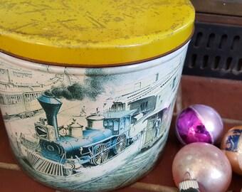 Vintage Locomotive Steam Engine Train Tin for Storage Chippy Scratchy