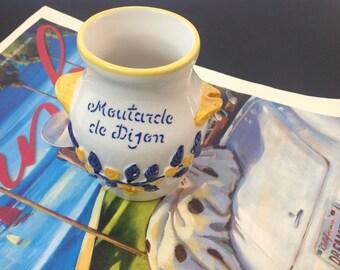 Vintage French Dijon Mustard Crock Serving Mediterranean Kitchen