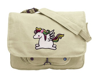 Too Cute Pegasus Embroidered Canvas Messenger Bag