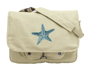 Salt Water - Starfish Embroidered Canvas Messenger Bag