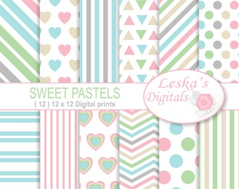 Pastel Digital Paper Pack, Digital scrapbook paper in: Triangles, Polka dots, Hearts, Stripes and chevron, Pastel Download, printables