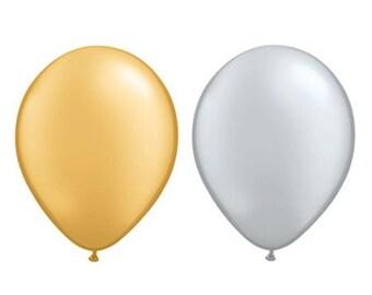 """Gold or Silver Metallic 11"""" Party Balloon - Petite Party Studio"""