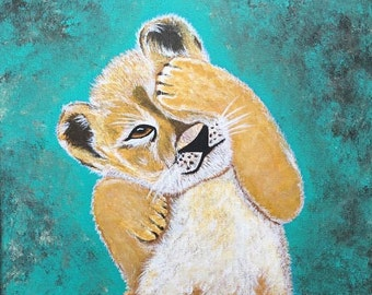 Giclee PRINT 9x12 Lion Cub baby African Safari Animal Art for Sale Lion King