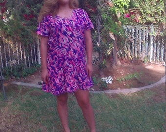 OP ,purple ,pink, cotton dress,Ocean Pacific,dress,large