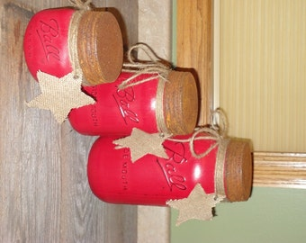Red Mason Jar Canisters Set Kitchen Mason Jar Decor Red Canisters Half Gallon