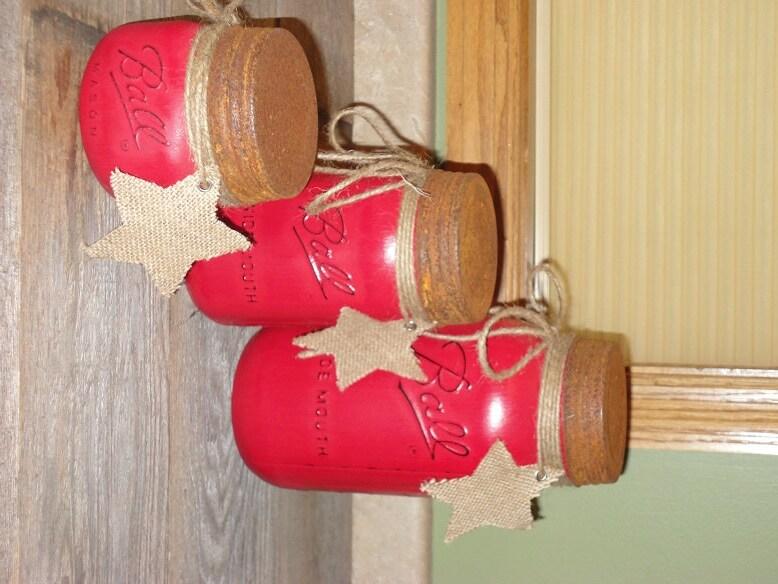 Red Mason Jar Canisters Set Kitchen Mason Jar Decor Red