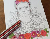 Coloring Pages for Adults, Adult Colouring Book, Frida Kahlo, instant download printable art, hand drawn, floral crown, mexican, folk art