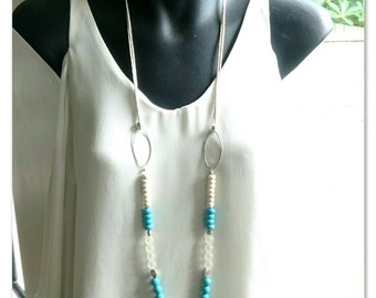 Cream and Blue Turquoise Necklace on  Adjustable Hemp Cord