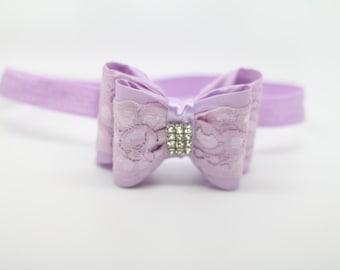 Lavender Bow Headband, Purple Bow Headband, Lavender Headband, bow headband, lace bow headband, lavender bow, lavender Flower Girl Headband