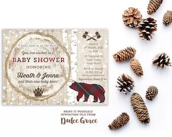 plaid baby shower invitations, bear cub baby shower theme invite, tartan baby shower invites, printable, silver birch baby shower invitation