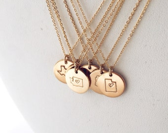 1/2 inch State Charm Necklace  / Gold, Silver, or Rose Gold / Delicate Initial Necklace/ Gold Disk Necklace