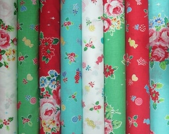 Lecien Flower Sugar Holiday, Red, Green, White and Aqua, Fat Quarter Bundle of 8, Japanese Fabric