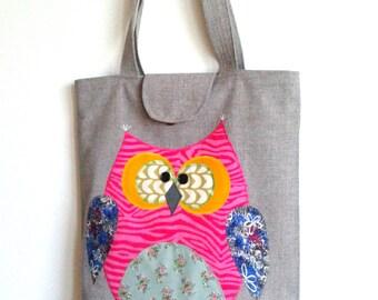 Handmade tote bag with owl applique - Handmade fabric bag with owl - Handbag with owl - Handmade fabric purse with applique