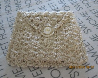 small gold and white coin purse, hand crochet