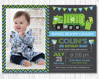 Garbage Truck Birthday Invitation, Garbage Truck Birthday Invite, Garbage Party, Photo invitation, Chalkboard, printable