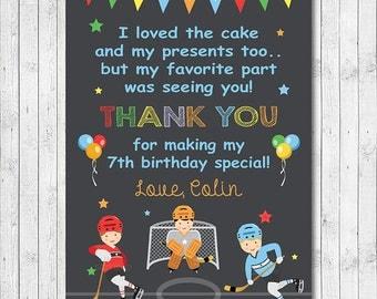 Hockey Thank you Card, Hockey thank you note, Hockey thank you tags, Hockey birthday, Hockey party, printable