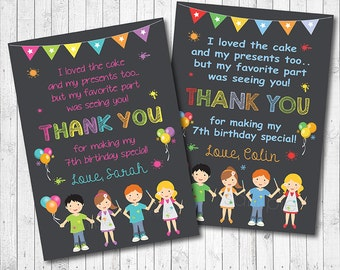 Painting Pottery Thank you Card, Painting Pottery thank you note, Art thank you tags, Art birthday, Artist birthday, pottery party,printable