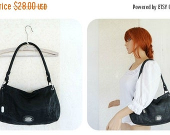 SALE SALE SALE Vintage 1990s 90s Esprit Black Leather Shoulder Bag