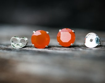 Carnelian Stud Earrings - Carnelian 8mm Round Studs - Faceted Carnelian Carnelian Stud Earrings - Calcedony Sterling Silver Carnelian Studs