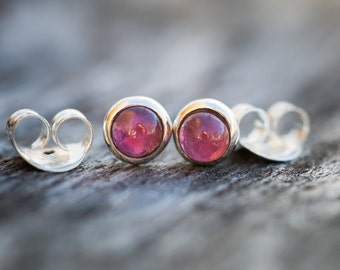 Pink Tourmaline Stud Earrings - Tiny Round Studs - Tourmaline Studs - Tourmaline Earrings -Simple Everyday Tourmaline Studs -Pink Tourmaline