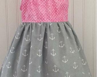 Girls flutter sleeve dress Girls anchor dress Girls nautical dress Girls size 4t Ready to ship