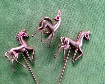 Pins, a shirt, a tie, horses, deer, metal, copper, Vintage 60