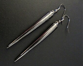 Gunmetal Spike Earrings / Gunmetal Earrings / Gothic Earrings /Long Spike Earrings