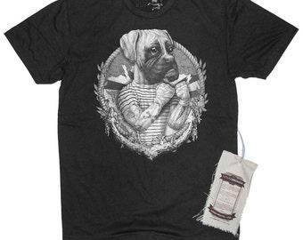 Men's Boxer Dog Sailor Art Illustration T-Shirt