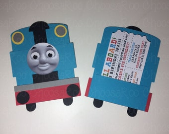 Train Shaped Invitations with Ticket - Thomas Inspired - Personalized - Handmade! *Made to Order*