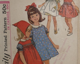 Simplicity 5948 Pattern Girl's Dress,  Pinafore & Scarf Size 5 Vintage 1960's