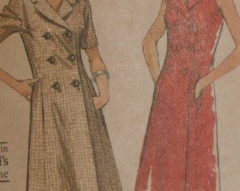 McCall's 7097 Pattern Misses' Double Breasted Coat Dress Size 12 Uncut Vintage 1960's