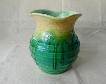 Signed Remued wavy lipped flared vase no. 28 green and yellow drip glazes Australian studio pottery