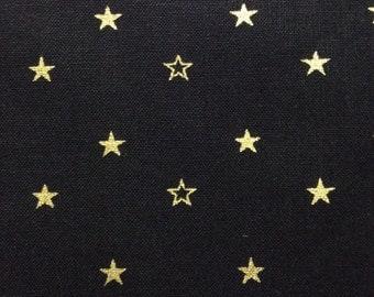 One Half Yard of Fabric Material - Metallic Gold Stars on Black