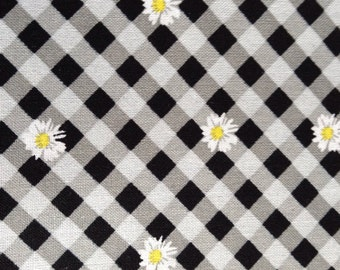 One Half Yard of Fabric - White Daisy on Gingham