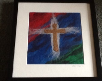 Needle Felted Cross Picture - Colour Burst - Christian Art