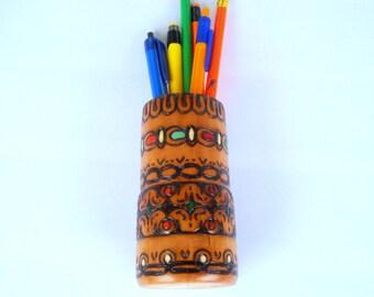 Vintage Carved Wooden Pen and Pencil Holder / Hand Painted Holder/ Office Decor /Desk Organization / Table Decoration/ 1990s