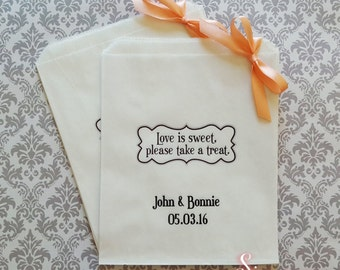 Personalised Love is sweet White Paper Candy Buffet Lolly Bags x 50
