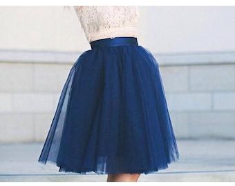Navy Blue Signature  Tulle Skirt