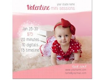 Valentine's Day Mini Session Photography Template - Marketing Template - Photography - Postcard - 5x5 - Hearts - Sparkles - Glitter