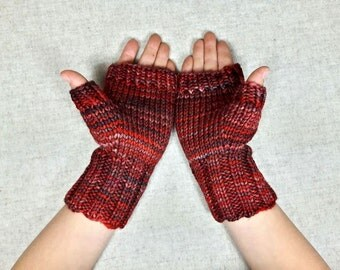 Fingerless Gloves for kids, brown, 6 to 8 years, arm warmers, wool merino, one of a kind