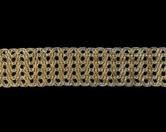 """729.2 Metallic gimp trim - """"Mesh"""" antique-gold - 1"""" (25mm)"""