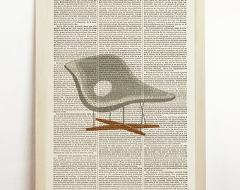 Molded Plastic Rocker RAR  Poster La Chaise Print Charles and Ray Eames Chair Vintage Mid Century Modern Furniture Retro Art Book Dictionary