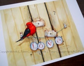 Fine Art Print by Michelle L. Palmer Watercolor Artist Valentine Scarlet Tanager Bird LOVE